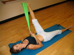 pilates leg circles with a band imag