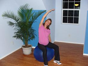 pregnant exercise ball stretch image