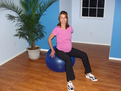 prenatal pilates on the ball image